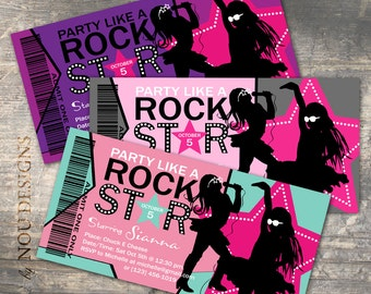 Girl Party Like a Rock Star Birthday Invitation Card- Printable File