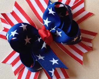 READY TO SHIP Free Shipping 5 inch 4th of July Bow