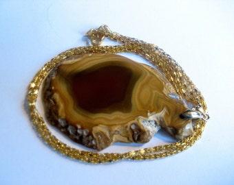 157-Druzy Agate Gemstone Pendant Necklace, Gold Agate Pendant Onyx, Carmel Agate Necklace, Agate Druzy, Agate Onyx Necklace, Amber Agate