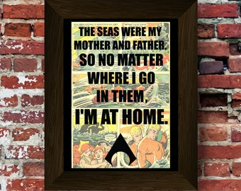 Aquaman inspired quote Upcycled vintage comic book art print. #0040