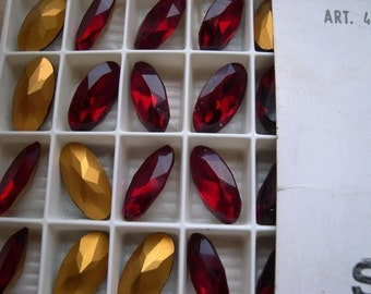 4 vintage Swarovski crystals, siam, oval/oblong cut , art. 4123 18x9mm , gold foiled , item# 170