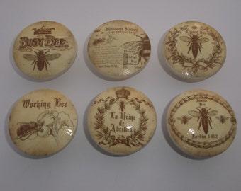 "Honey Bee Vintage  Print  2"" Dresser Drawer  Cabinet Knob"