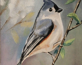 Original bird oil painting with frame