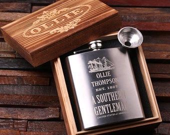 Set of 6 Personalized 7 oz Stainless Steel Metal Whiskey Scotch Flask Unique Men Christmas, Groomsmen, Man Cave, 21st Birthday Gift