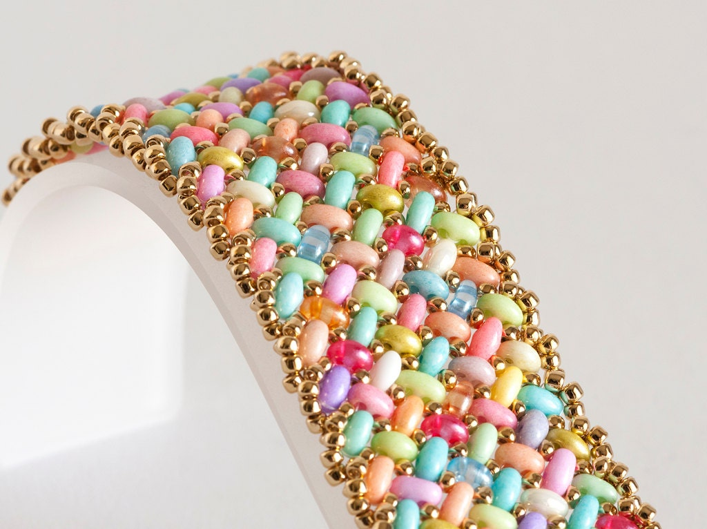 Seed Bead Bracelet Beaded Bracelet Herringbone Bracelet