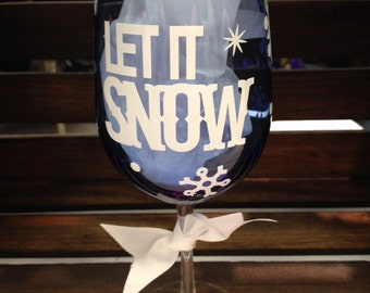 Snowflake wine glass, christmas wine glass