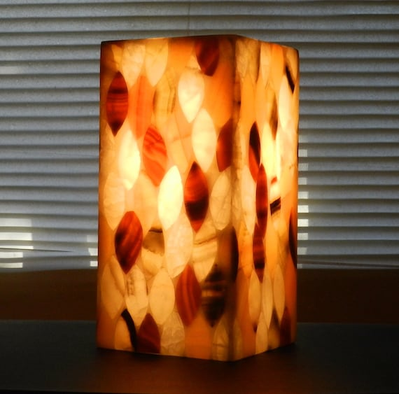 Natural Stone Lamp Onyx Alabaster Modern Square Pillar Tower