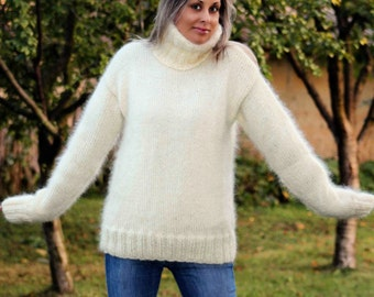 Hand Knit Mohair Sweater White Fuzzy Turtleneck Jumper Pullover Jersey - MADE to ORDER