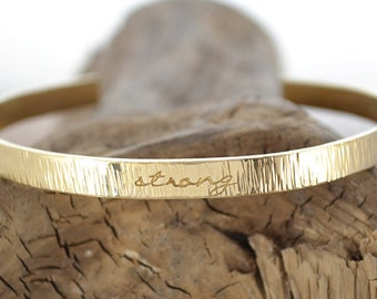 Gold Stacking Bracelet - Personalized Bracelet - Stamped Cuff - Skinny Stacking Gold Bracelet - Inspirational - Empowering Jewelry