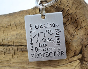Keychain for Dad Daddy - Personalized Keychain - Gifts for Dad - Fathers Day Gifts - Hero - Protector - Gifts for Him by Pink Lemon Design