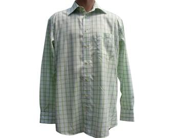 Vintage Daniel Hechter Paris men shirt green white 100% cotton size 39