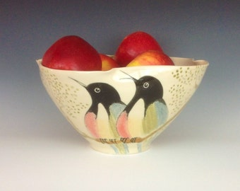 Sandy's Songbirds Large Altered Rim Serving or Decorative Bowl