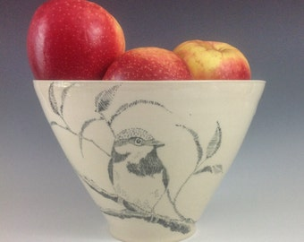 Single Sparrow Hand Painted Porcelain Fruit or serving or decorative bowl