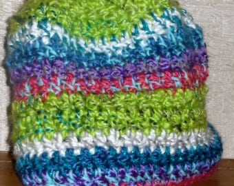Bright Green Krinkle crochet beanie hat. Contrasts blue white pink BlueBear