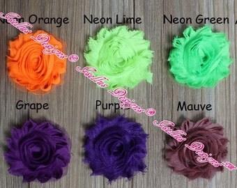 "6 Piece 2.5"" Neon Green Shabby Flower"
