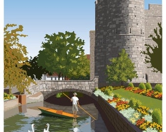 CANTERBURY. Art print travel poster of West Gate Towers, Canterbury, Kent. A4, A3, A2. Stour River