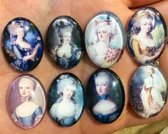 Glass Cameos Marie Antoinette French Cabochons Portrait Art 40x30mm 30x22mm 25x18mm 18x13mm