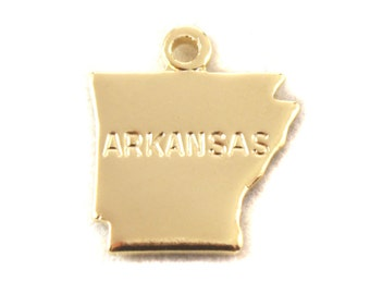 2x Gold Plated Engraved Arkansas State Charms - M114-AR