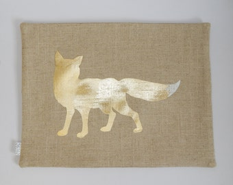 Metallic Gold Fox Pillow, Linen blend, Burlap-look, 12x16