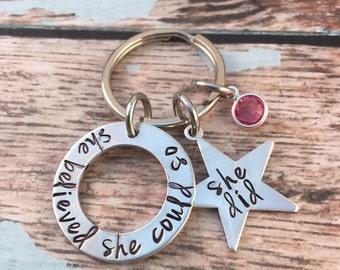 Affirmation Key Chain- handstamped -Graduation present- silver hand stamped washer keychain -Inspiration -Motivational Birthstone Accessory