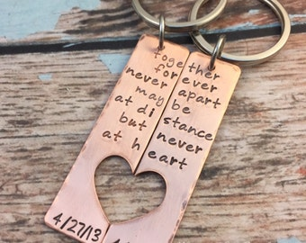 Together Forever - Hand Stamped Rustic Copper Key Chain - Couples Keychain Set - Heart Cut Out - Long Distance Relationship - Love - HLJ