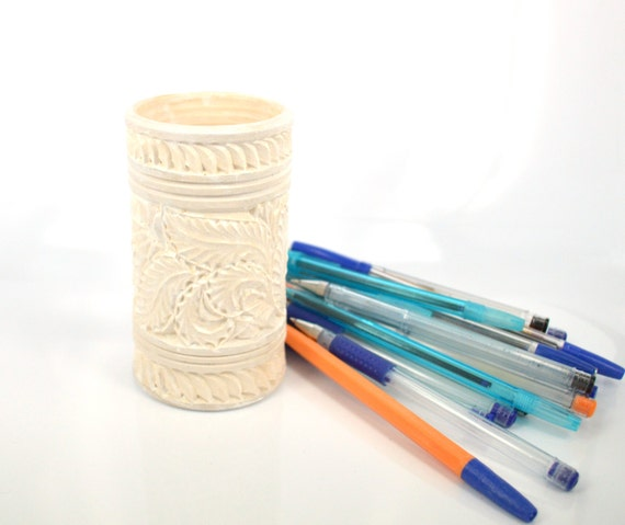 Wood carving white carved wooden pencil and by