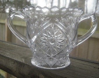 Pressed Glass Sugar Bowl In Clear Glass With A Sawtooth Edging On The Top Edge