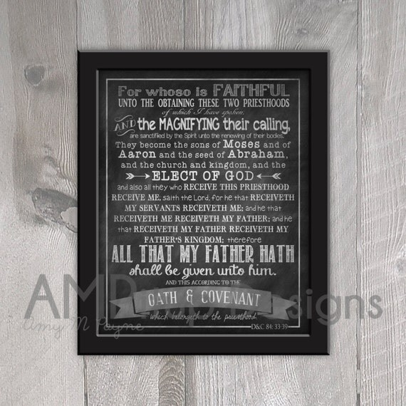 Fan image pertaining to oath and covenant of the priesthood printable