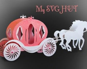 3D SVG PDF Princess Carriage SVG digital download
