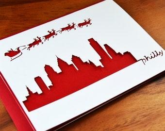 8-Pack - Die-Cut Philadelphia Skyline Santa Card