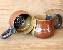 Ceramic Teacup Gift Set. 12 Oz Coffee Mug Pair. Earth Tones. Brick Red. Caramel. Smokey Blue. Stoneware His Hers Mugs.