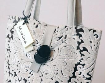 model shopper bag in black white damask chenille code 1015