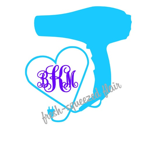 items similar to custom hairdresser hairstylist monogram blow dryer heart cord car laptop decal. Black Bedroom Furniture Sets. Home Design Ideas