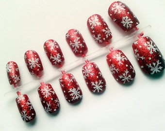 Sparkly Red Snowflake Christmas Fake Nails, Hand Painted False Nails, Artificial Nails, Xmas Nail Design