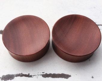 "Red Saba Wood Plugs 8g 6g 4g 2g 0g 00g 7/16"" (11mm) 1/2"" (12mm)"