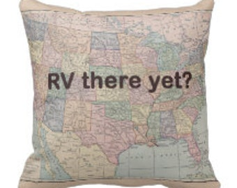RV Throw Pillow - RV there yet? US map fun Rv gift , travel decor, Vintage Maps, unique, pastel