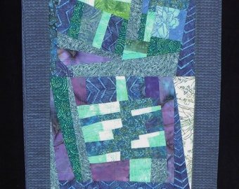 "Improvisational quilted wall hanging or table runner 20"" x 44"""