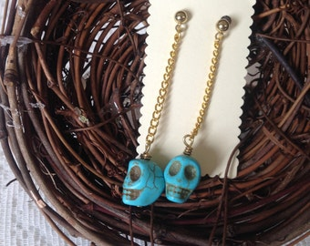 Turquoise and Gold Day of the Dead Skull Earrings by K'nique Jewelry