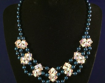 Dark Blue Glass Pearl Crystal Bib Style Necklace