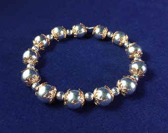 Silver and Rose Gold Plated Leaves Bead Stretch Bracelet