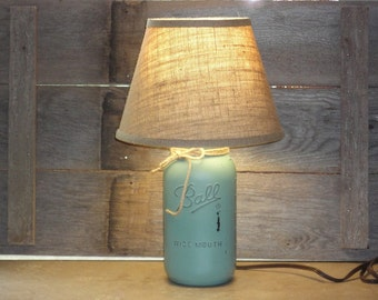 Mason Jar Lamp-Eucalyptus Mason Jar Lamp-Eucalyptus Lamp-Half Gallon Mason Jar Lamp-Rustic Lamp-Distressed Mason Jar Home Decor