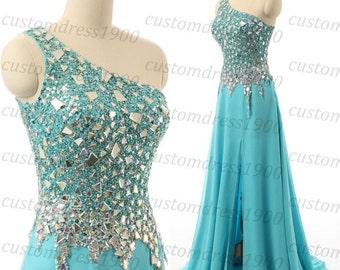 Light blue long prom dress,one shoulder formal women evening dress,handmade beading/crystal chiffon wedding party dress