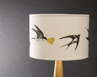 Airmail! - 20cm Hand Gilded Swallows Lampshade
