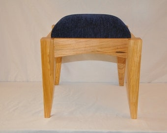 Handcrafted Wood Footstool or Stool with Padded or Cushioned Seat