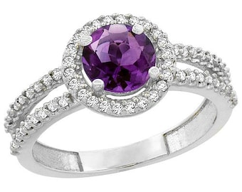 10K White Gold Natural Amethyst Diamond Halo Ring Round 6mm, sizes 4 - 10