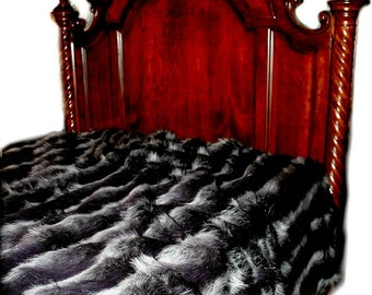 FUR ACCENTS  Faux Fur Bedspread / Exotic black and Gray Badger Stripe