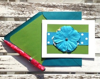 Turquoise and white polka dot ribboned  preppy inspired handmade card with coordinating lined envelope. Set of 10 cards + envelopes.