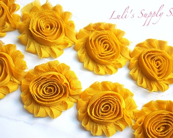 Mustard Yellow Shabby Chiffon Rose Trim - Shabby Chiffon Rosettes - Solid Shabby Trim - Shabby Chiffon Flowers 1/2 Yard or 1 Yard