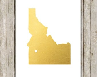 8x10 Idaho State Print, Geography Wall Art, Metallic Gold Art, Idaho State Poster, Office Art Print, Home Decor, Instant Digital Download