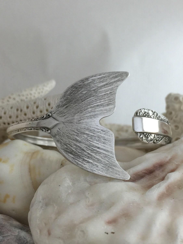 Sterling Silver Mermaid Tail Spoon Cuff Bangle Bracelet